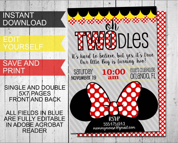 oh twodles invitations minnie mouse inspired birthday