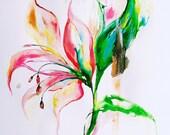 Original Floral Watercolor Painting - Botanical Illustration - Lana Moes Art - Contemporary Home Decor - Fine Art - Gold Accents