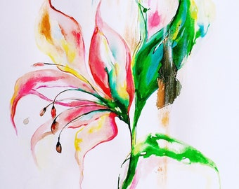 Original Floral Watercolor Painting - Botanical Illustration - Lana Moes Art - Contemporary Home Decor - Fine Art - Gold Accents