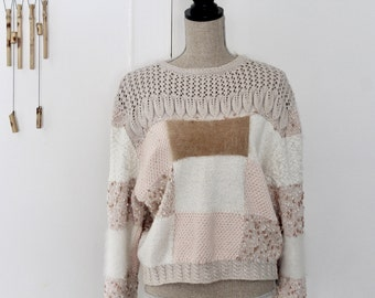 Vintage Unique Pullover Sweater / Patchy Sweater / Handmade Sweater / Pastel Textured Sweater / Artisan sweater