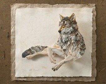 Blank Card - 'Wolf Repose' - Paper Sculpture, Print