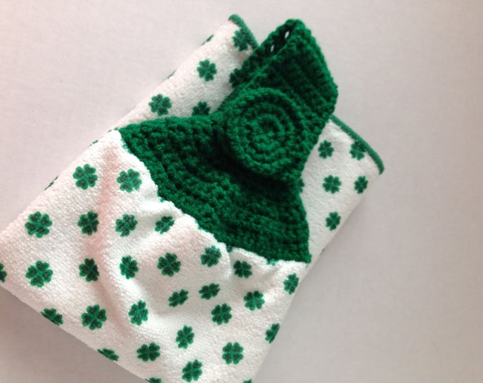 Shamrock - St. Patrick's Day Hanging Towel - Green Crochet Top - Handmade Crochet - St. Patricks Day Decor - Irish Theme - Ready to Ship