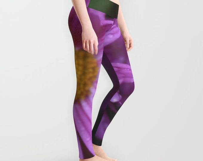 Leggings - Purple with Yellow - Yoga Pants - Yoga Leggings - Tights - Purple Flower - Made to Order