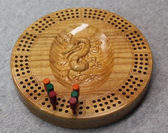 3D Wood Dragon Travel Cribbage Board Made of Maple Wood