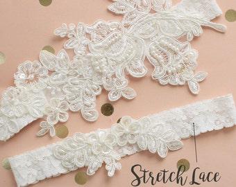 Ivory Pearl Beaded Lace Wedding Garter Set, Bridal Garter Belt, Wedding Garter Ivory, Toss Garter, Wedding Garter Belt