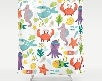 Under The Sea Shower Curtain, Marine Life Shower, Nautical Shower, Whales  Shower,