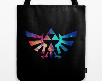 Zelda Tote Bag, Triforce Tote Bag, The Legend of Zelda Tote Bag, Triforce in Bright Stars Tote, Hylian Royal Crest Tote Bag, Zelda Bag,