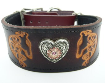 Stamped Heart Hounds Adjustable leather martingale collar