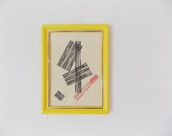 Vintage Mid Century Abstract Print in Yellow Frame Small Geometric Linear Art Wall Decor