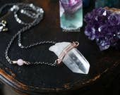 ONE-OF-A-KIND// Crystal Chunk Point + Gunmetal Oxidized Chain, Splash of Rosegold, Chakra Moonchild Gift for Her Everyday Necklace