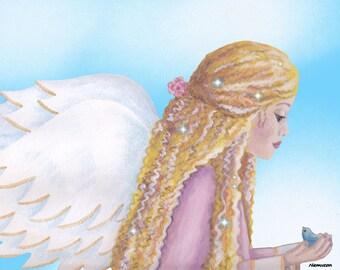Fairy art print, fairy paintings, fairy decor, fairies, fairy nursery, girls fairy print, blonde fairy, summer fairy,  fairy  girl room