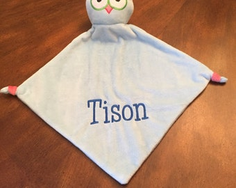 Personalized Owl Lovey  blanket  Baby Gifts