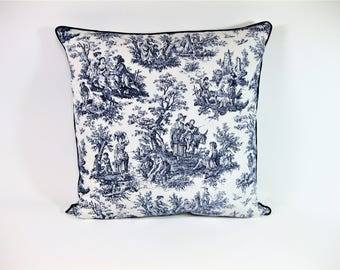 Navy and Ivory Toile Pillow Cover 18 x18