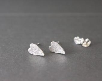 Silver Heart stud earrings - 925 sterling silver stud earrings
