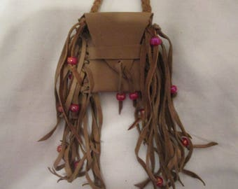 Small Fringed Bown Leather Neck Bag Braided Strap Glass Beads