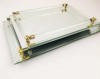Large Mirrored Dresser Tray/Plateau With Beveled Mirror and Brass Tipped Glass Rods Around the Edge - Mint Condition - Two Sizes