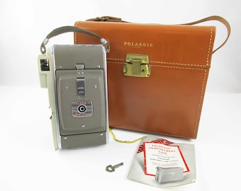 Polaroid Highlander Land Camera Model 80A - Caramel-brown Leather Carry Case With Key - 'Wink-light' Flash Unit - Manuals, Etc.