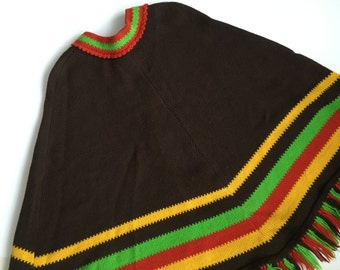 Vintage knitted poncho Scandinavian cape Brown red yellow green poncho Nordic Cloak with fringes