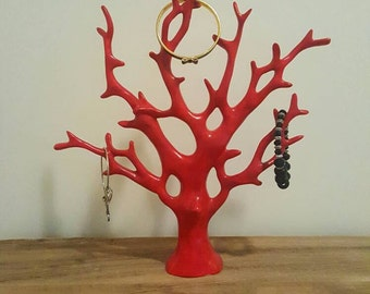 Red Coral Jewelry Stand