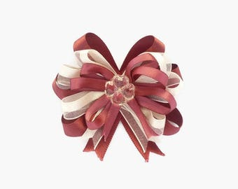 Ribbon hair clip for baby girls- Red wine hair bow - loop bow clip - flower loop - Girls hair clip