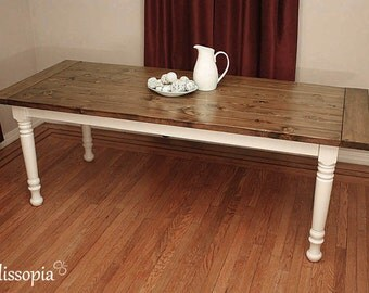 Farmhouse Table with Spindle Legs, Wood Dining Table, French Farmhouse Table