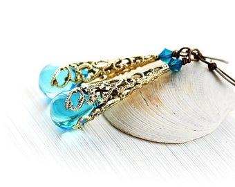 50%off SALE Blue Glass Earrings, Bohemian Jewelry, Boho Earrings, Dangle earrings, Bohemian Earrings/ Aqua Blue Drop Earrings, Blue Boho Ear