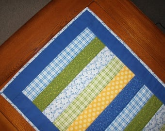 Quilted Table Runner - Blue, Yellow, Green Stripes - reversible