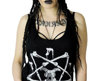 Bone Pentagram Magic Symbols Skull Tank Top Female