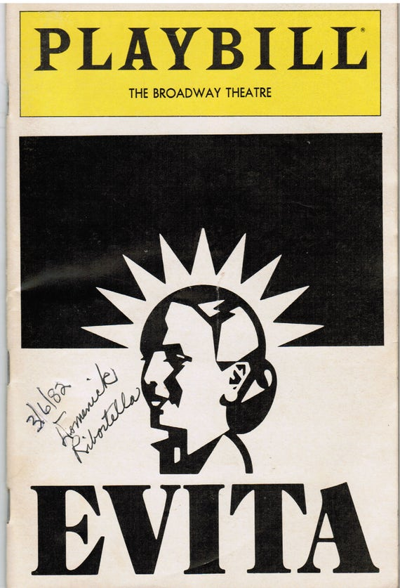 Playbill Broadway Theatre Vintage  Program Booklet 1982, EVITA, Including 2 Used Ticket Stubs, Nostalgic Magazine Book