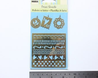 Destash Item - *Never Used* Plaid 'Fun Patterns' Brass Stencil For Cardmaking Scrapbooking