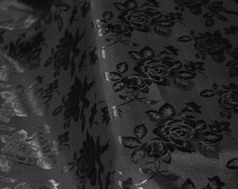 Black Floral Jacquard Brocade Satin Fabric By the Yard Style 3006