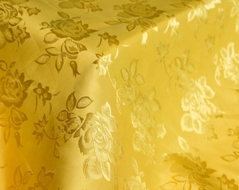 Mango Floral Jacquard Brocade Satin Fabric By the Yard Style 3006