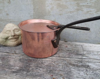 Antique Copper Pot and Lid with Cast Iron Handle, Lewis Conger New York Copper Sauce Pan Circa 1850, Lewis Conger #17