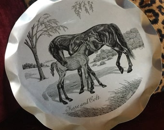 Country Equestrian horse vintage aluminum tray