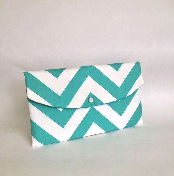 Turquoise Chevron Clutch- - Gift giving - gift idea/winter trends/gifts for her/gifts