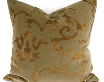 Khaki & Gold Velvet Throw Pillow Cover, 20x20