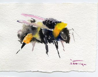 Bumblebee Painting, original watercolor art, handmade paper painting, 6.5 x 10. in