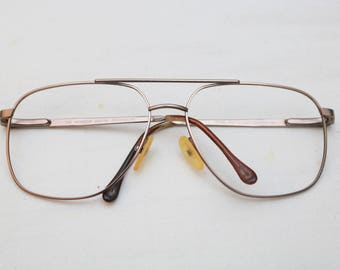 "Rare 80's Vintage ""MONSIEUR"" Brown Metal Eyeglass Frames"