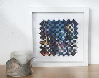 Framed wall art, abstract art, paper weaving art, original artwork, square art, mixed media art, woven paper art. SFW010