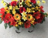 Cemetery Flowers..Memorial Flowers..Cemetery Saddle..Tombstone Flowers..Headstone Saddle..In Loving Memory