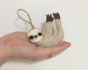 Sloth Felt Christmas Tree Ornament