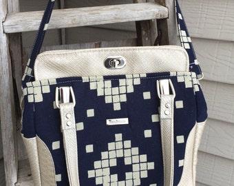 Snakeskin Vinyl Handbag, Navy and Cream Handbag, Navy Handbag, Navy Purse, Aster Handbag, Southwest Handbag, Blue Calla Cream and Navy Purse