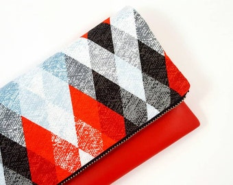 Argyle Purse, Clutch Purse, Red Purse, Leather Clutch, Gift For Her, Rockabilly Purse