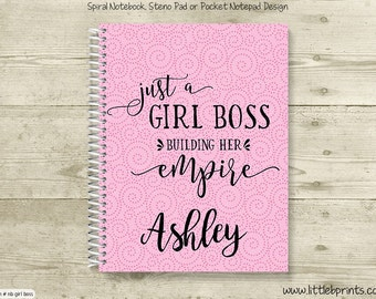 A Girl Boss Building Her Empire Monogram Personalized Spiral Notebook Back to School Notebook Red Yellow Blue Orange Purple