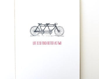 Valentines Day card. Tandem Bike Card. I love you card. Tandem love card. Bicycle card.