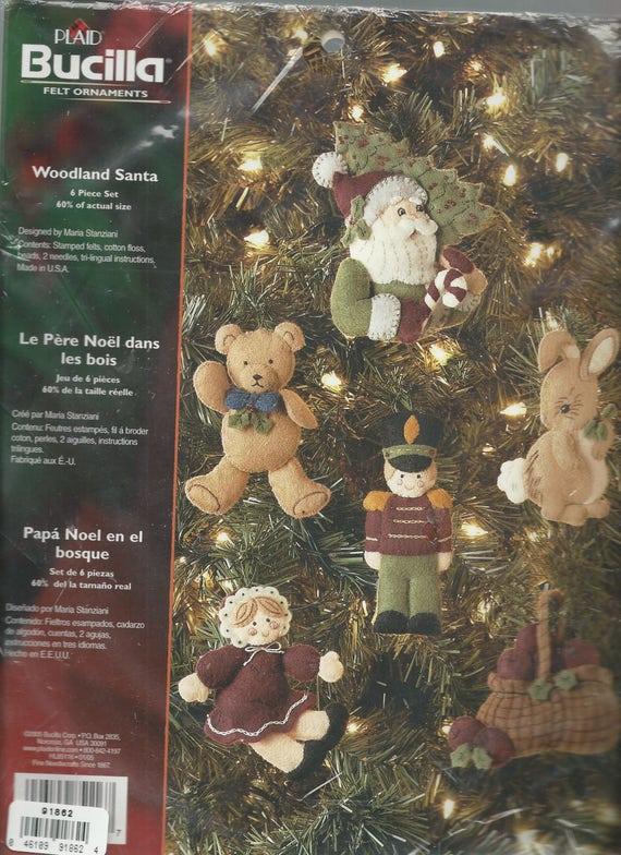 Bucilla Plaid Felt Ornaments Kit 6 Piece Set