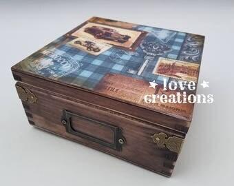 Vintage cars Tea Box wooden tea caddy,vintage kitchen decor, wooden storage retro, storage box, compartments box, masculine gift,watches box