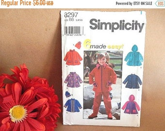 Apparel Sewing Pattern Girls Clothing Uncut Simplicity 8297 Size 1T to 6 Girls Jacket and Hat