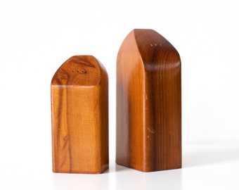 Mid Century Modern Wooden Salt and Pepper Shakers