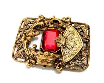 Renaissance Revival Brooch, Large Foiled Back Red Emerald Cut Crystal, Ornate Metal Work, Antiqued Gold Tone Metal, Vintage Statement Brooch
